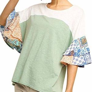 Umgee Colorblock Paislet Bell Sleeve Top